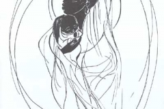 Mother and Child<br>Individual card (blank inside) in black ink on card stock with white envelope. Size 5x7.