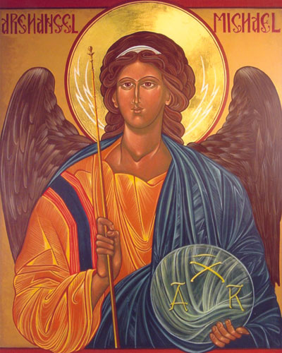 Archangel Michael<br>Full color print on cover stock, matte finish paper. Print size 9 x 10 3/4.