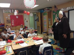 Sisters Lawrence and Sheila visited and talked to the children in their classroom.