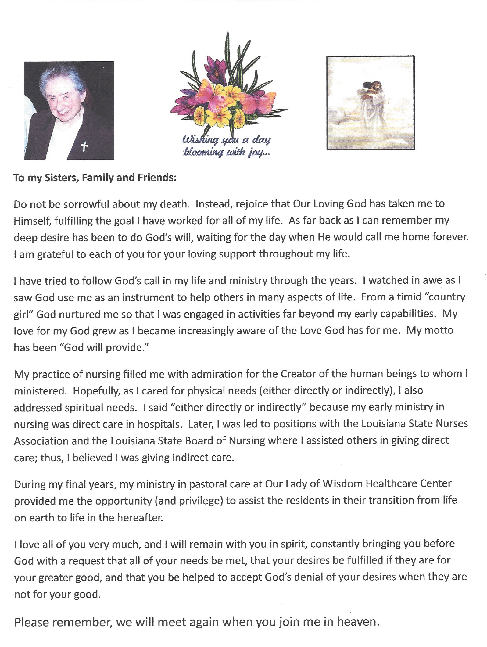 Sisters Of Mount Carmel Sister Lucie Leonards Final Letter to