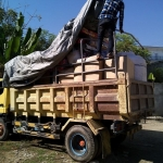 The truck that will bring supplies to the convent