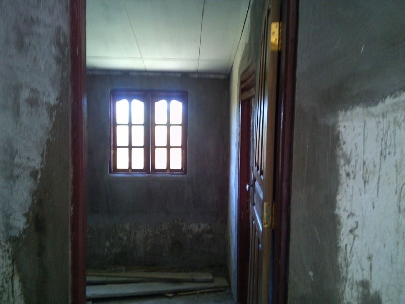 A view of the front door of the convent