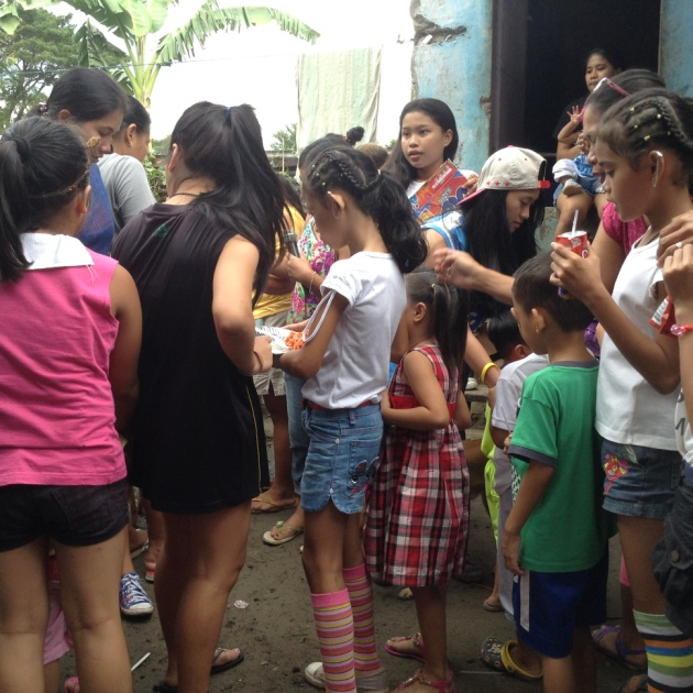 Children received their christmas gifts and goodies.